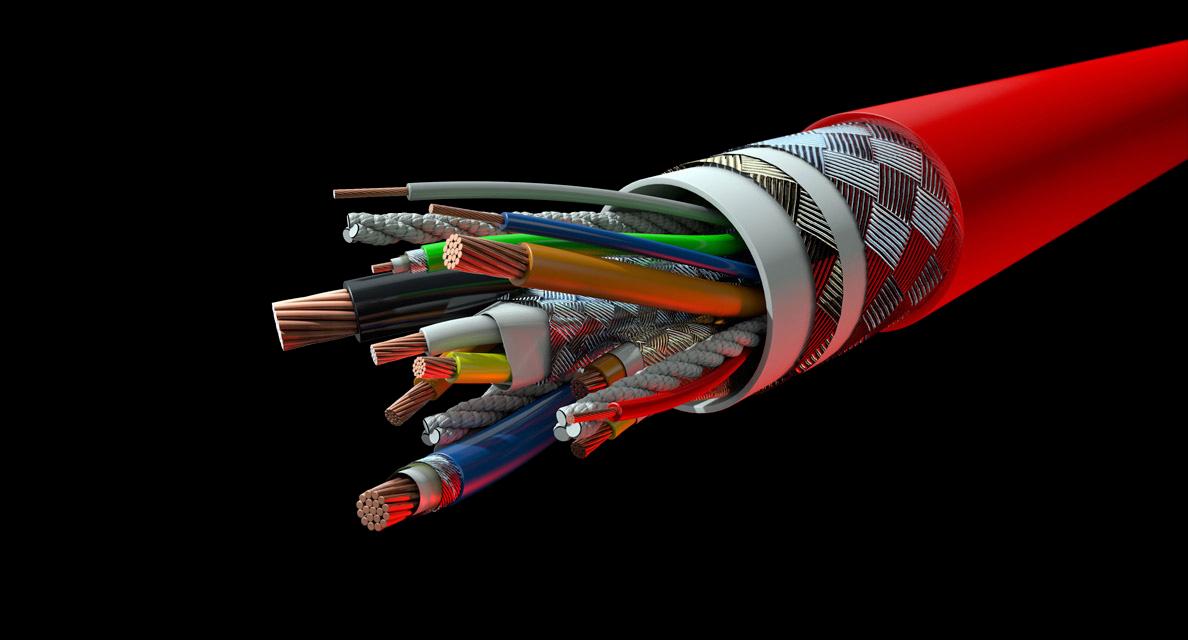 Speciaalkabel met verschillende kabels, van klein tot groot, gecombineerd in een huls.